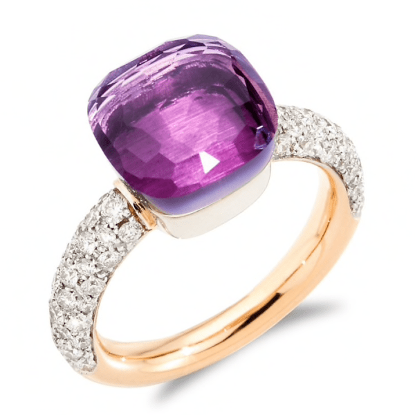 Nudo 18K Rose Gold, Diamond & Amethyst Classic Square Ring product shot full view