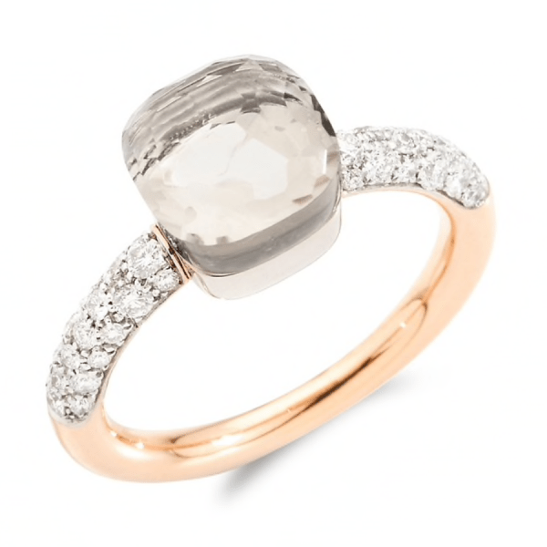 Ring Nudo Petit with White Topaz and Diamonds product shot full view