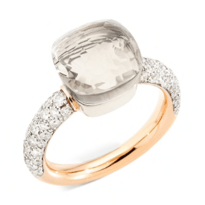 Ring Nudo Classic with White Topaz and Diamonds product shot full view