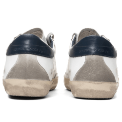 White and Blue Golden Goose Superstar Sneaker product shot back view