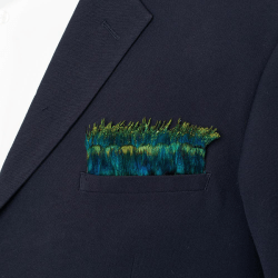 Model Wearing Meridian Pocket Square front view