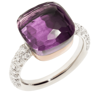 Ring Nudo Maxi with Amethyst and Diamonds