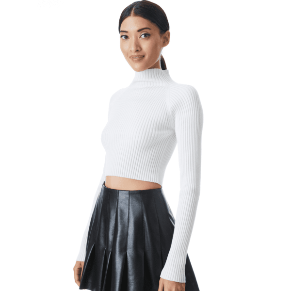 IRENA MOCK NECK CROPPED PULLOVER