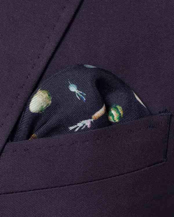 Blue Vegetables Silk Pocket Square