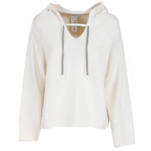 White Hoodie with Jewel Detail