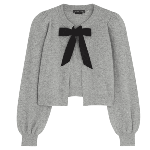 ALICE AND OLIVIA Kitty Grey Cashmere-blend Cardigan