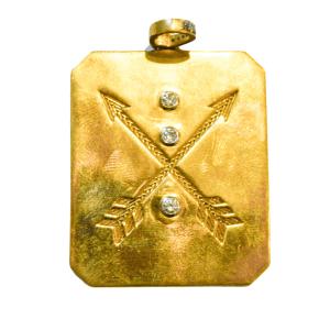 Arrows Square Brass Pendant