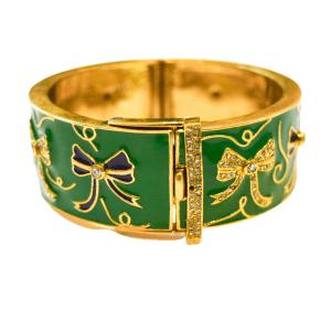 Bow Green Enamel Brass Wide Bracelet