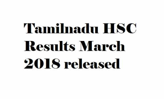 TN 12th Exam Results 2018