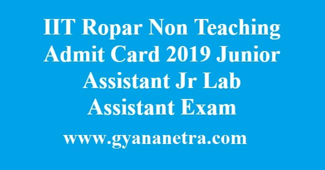 IIT Ropar Non Teaching Admit Card