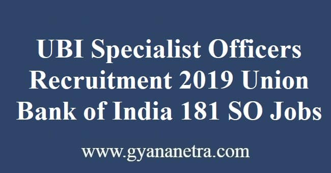 UBI Specialist Officers Recruitment