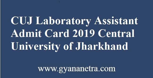 CUJ Laboratory Assistant Admit Card