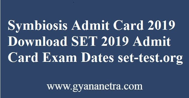 Symbiosis Admit Card 2019 Download