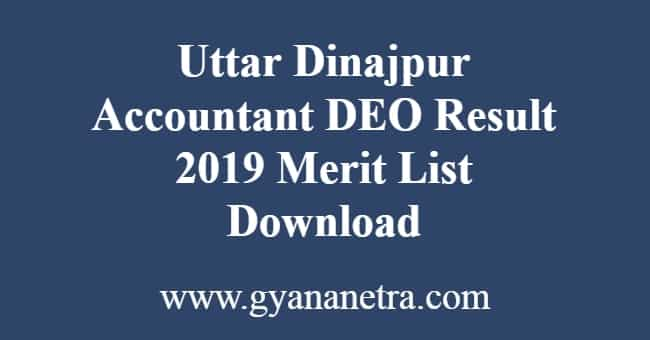 Uttar Dinajpur Accountant DEO Result