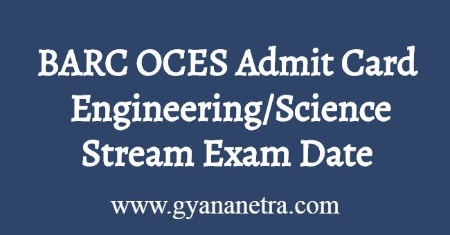 BARC OCES Admit Card