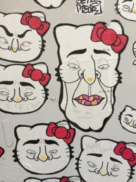 Bastardized Hello Kitty wall in Shinjuku.