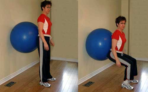 Fitness Ball Wall Squat Exercise in Hindi
