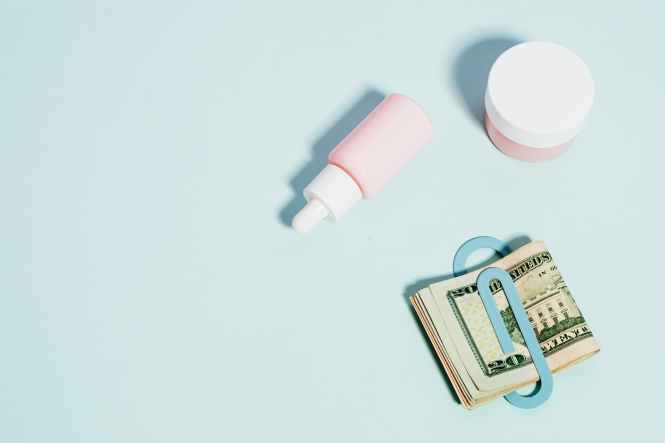 us dollar bills and healthcare products