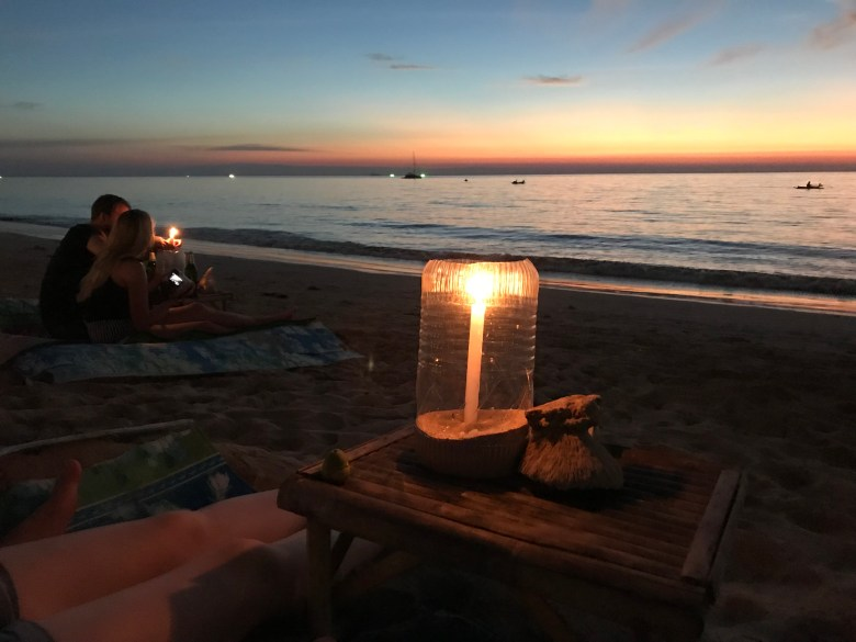 candle light on the beach