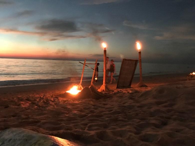 fire show on the beach