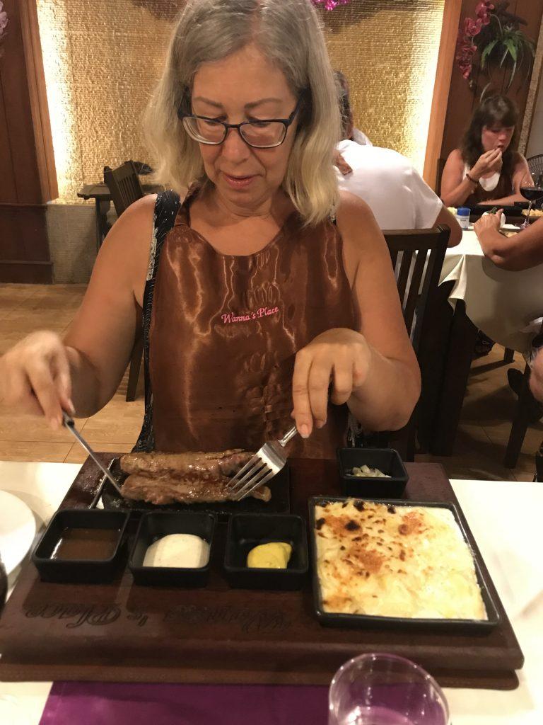 food on hot stone
