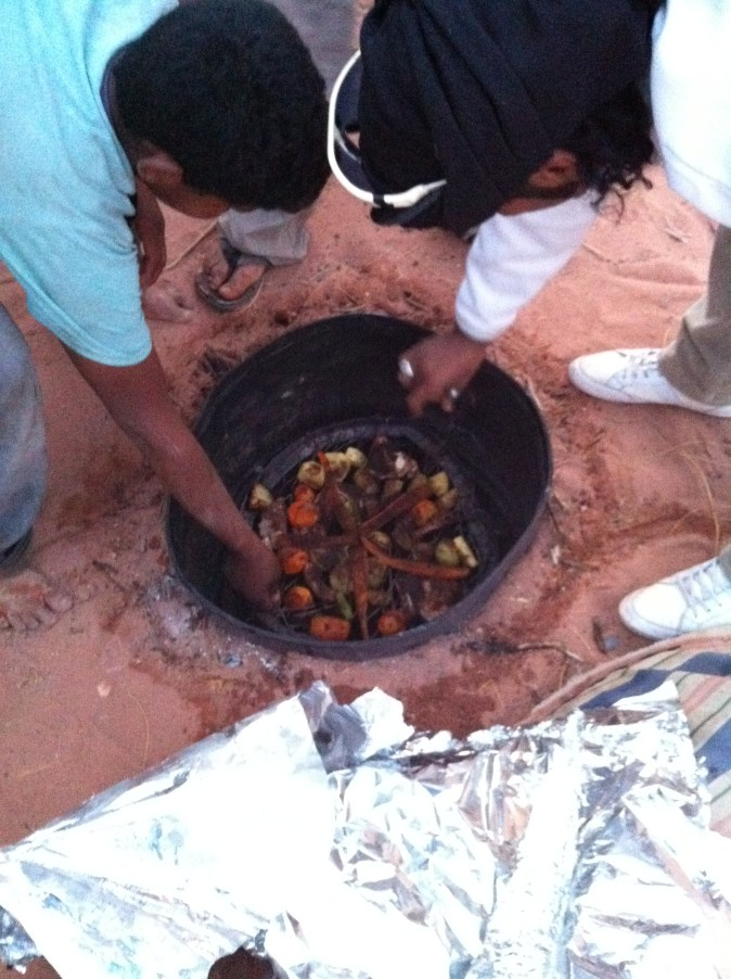 food cooked in a pit