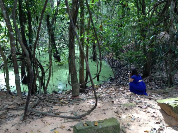 fotograf vid grönt vatten