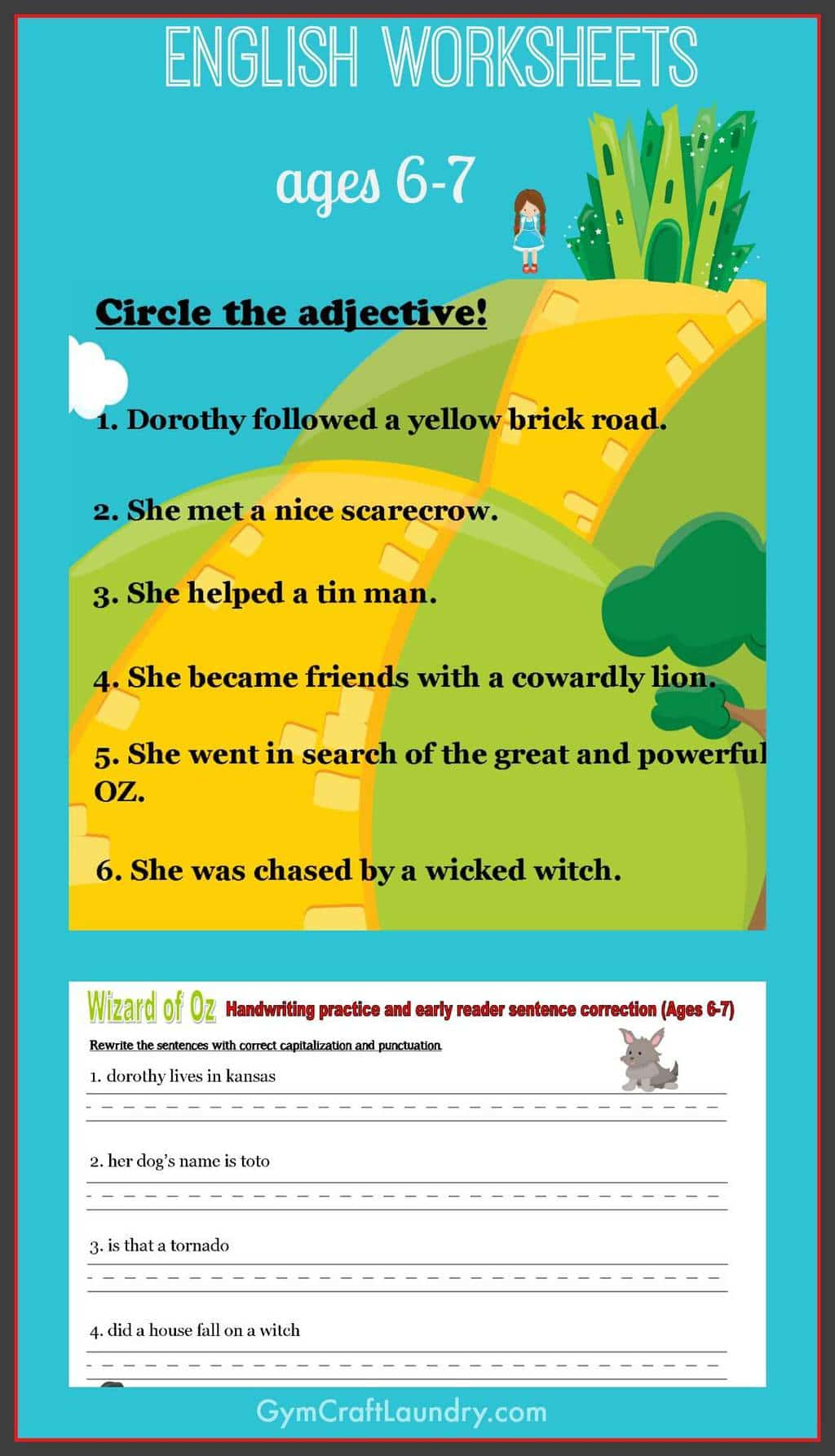 First Grade English Worksheets Wizard Of Oz Themed