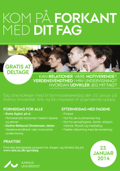 Arts Aarhus Universitet gymnasielærerdag 2014