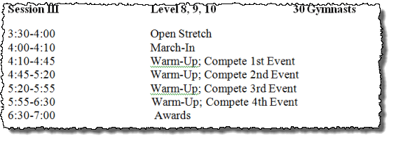 gymnastics meet schedule modified capital cup format