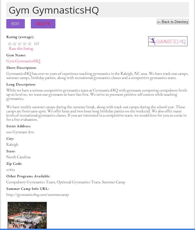 gymnastics gym directory example listing