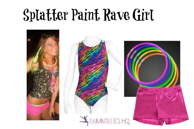 splatter paint girl costume with gymnastics leotard