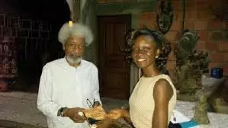 Ifeoluwapo Adeniyi presents her debut novel to Prof Wole Soyinka