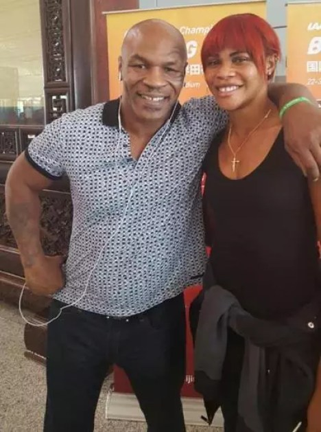 Blessing Okagbare and Mike Tyson in Beijing for the World Athletic Championship Game 2015.