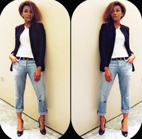Genevieve Nnaji Stylish In Jeans And Black Jacket