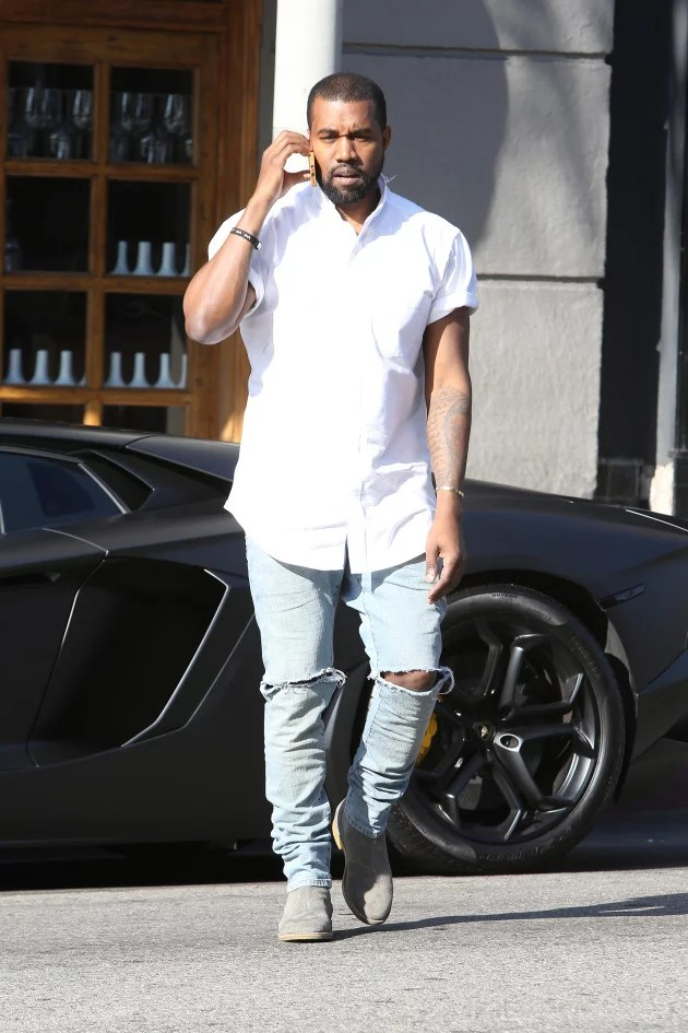 Kanye West Wears Ripped Denim