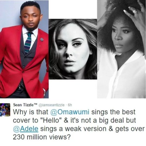 Music Star Sean Tizzle Disses British Singer Adele : Omawumi's '' Hello '' is Better Than Weak '' Hello '' by Adele