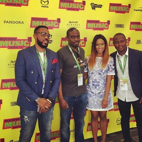 General Manager of Sony Music West Africa, Micheal Ugwu, Founder of NotJustOk.com, Ademola Ogundele, DJ Cuppy and Co-Founder and Head of Content NotJustOk.com, Ovie Ofugara (Photo Credit: DJ Cuppy Instagram)