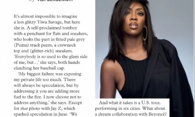 Tiwa Savage on Cover of South Africa Elle Magazine September 2016 Issue 00