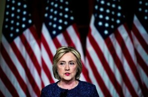 NEW YORK, NY- Democratic Nominee for President of the United States former Secretary of State Hillary Clinton speaks to journalists after meeting national security experts  for a National Security Working Session at the New York Historical Society Library in Manhattan, New York on Friday September 9, 2016. (Photo by Melina Mara/The Washington Post via Getty Images)