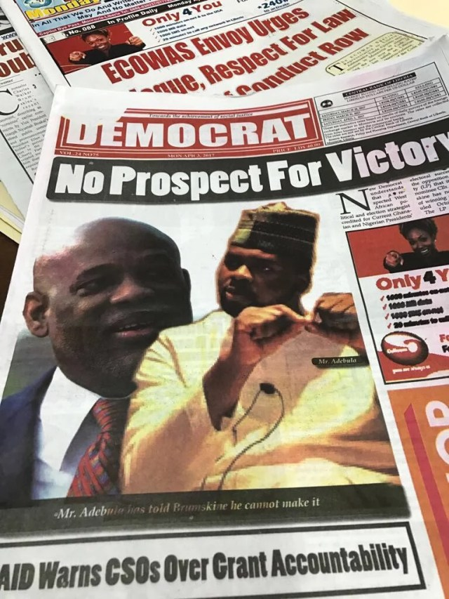 Adebola Williams Frontcover in Liberia