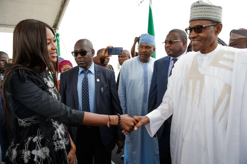 President Buhari and Naomi Campbell in Lagos 01