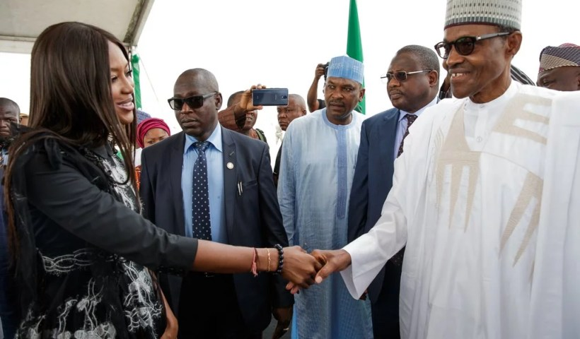 President Buhari and Naomi Campbell in Lagos 01
