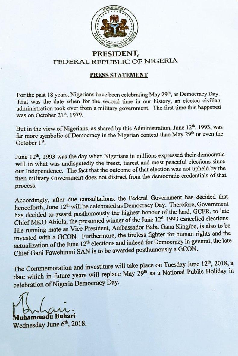 Buhari Declares June 12 As Democracy Day