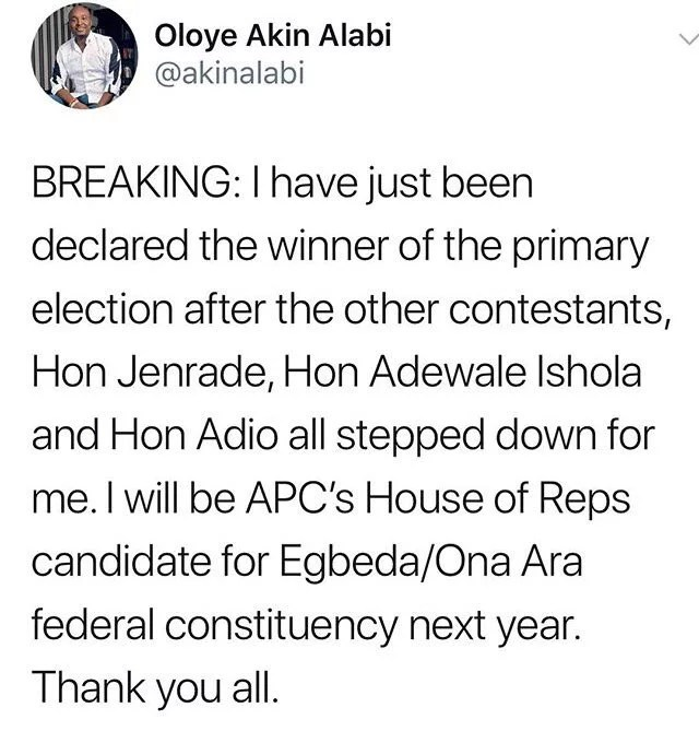 Akin Alabi Wins APC Primaries House of Rep Ticket In Oyo