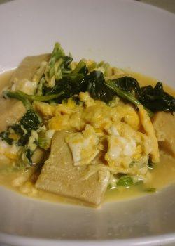 業務スーパーの小松菜と高野豆腐でカンタン煮びたし