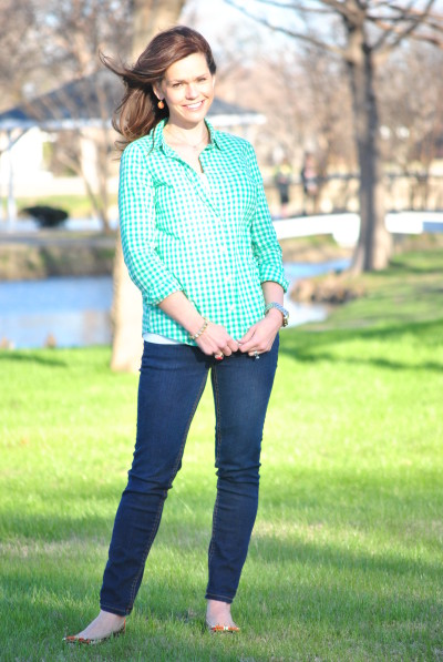 Green and White Gingham Shirt with Skinny Jeans