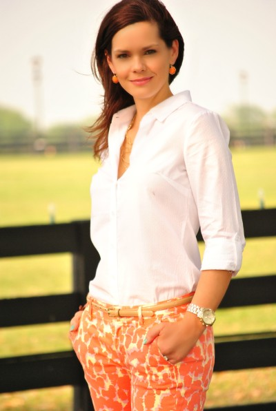 Coral Printed Jeans, White Button Down