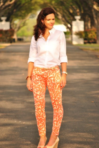 Coral Printed Jeans, White Shirt