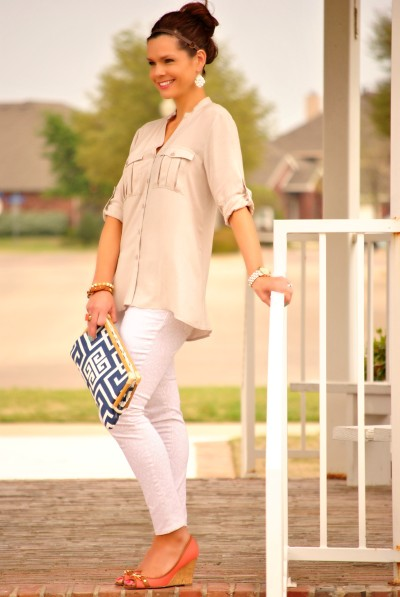 Neutral Outfit with Navy and Coral